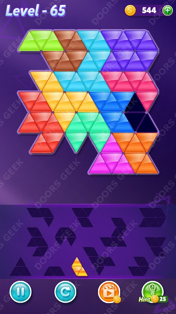 Block! Triangle Puzzle 12 Mania Level 65 Solution, Cheats, Walkthrough for Android, iPhone, iPad and iPod