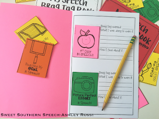 Use a journaling notebook for speech therapy brag tags!
