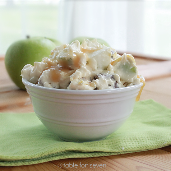 Snickers Taffy Apple Salad: Table for Seven