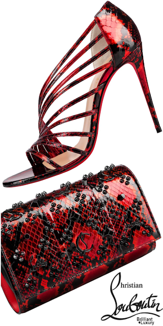 Brilliant Luxury♦Christian Louboutin Norina Open-Toe Sandals and Paloma Clutch #red #shoes #bags