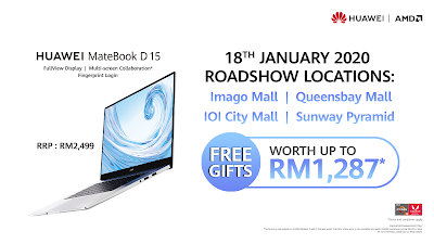 HUAWEI MateBook D 15 with Freebies worth RM1,287 at HUAWEI Roadshows on 18 January
