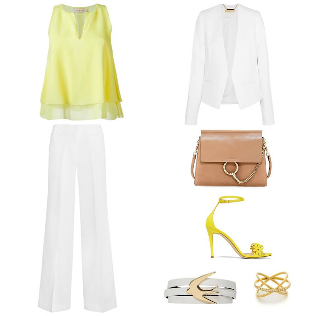 white suit with a pinch of yellow