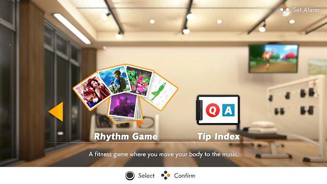 Ring Fit Adventure Rhythm Game main menu selection Super Mario Odyssey Zelda Breath of the Wild Wii Fit Splatoon 2
