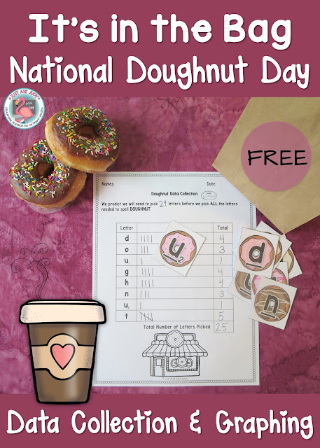 This is a data collection and bar graph activity for first, second, and third grade that is a sure fire way to engage your students at the end of the school year or anytime. Celebrate National Doughnut Day the first Friday in June!