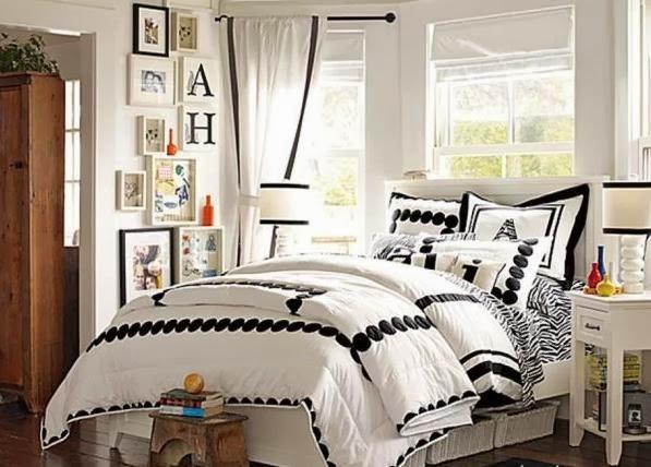 Habitaci n juvenil en color negro y blanco dormitorios for Decoracion habitacion juvenil femenina