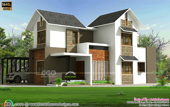 sloping roof style house with 4 bedrooms
