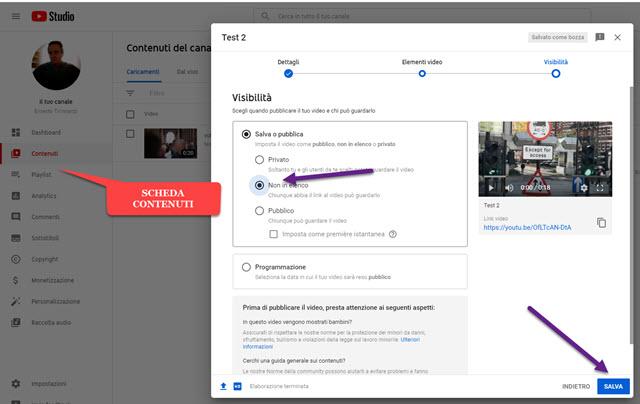 contenuti youtube studio