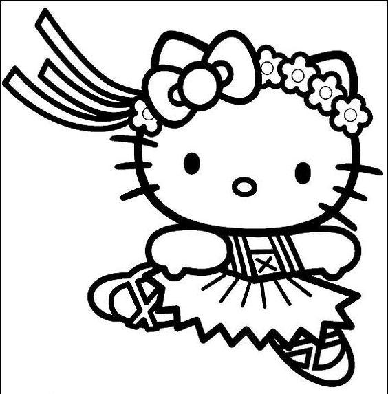 Tranh tô màu mèo hello kitty tập múa