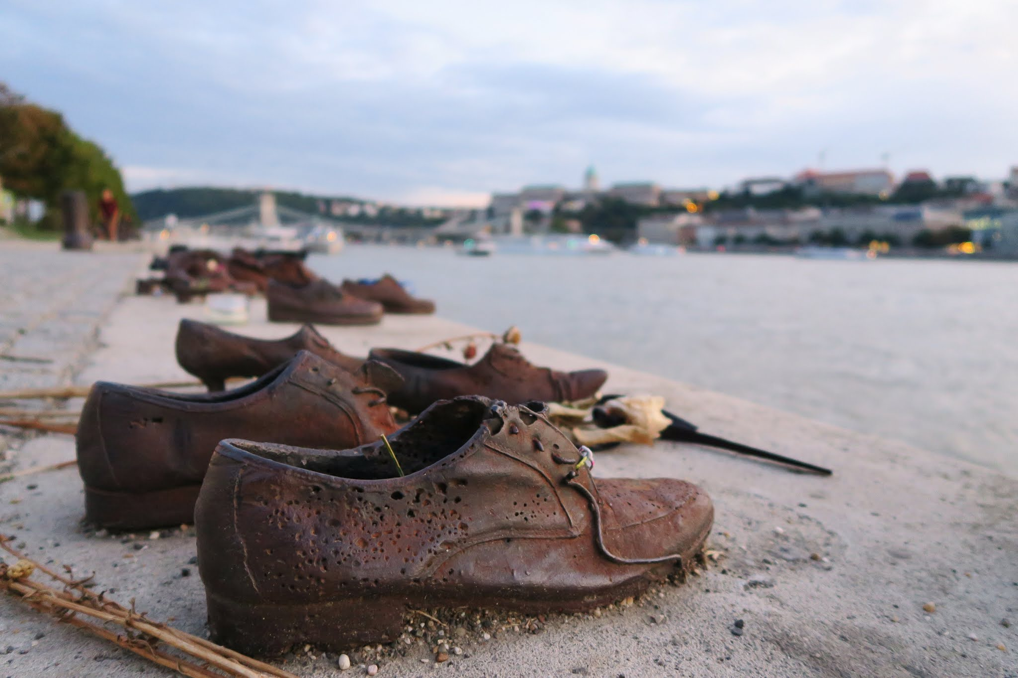 A close up shot of the shoes on the Danube memorial in Budapest