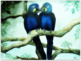 Arara Azul - Evelise T Lerner (Aquarela)