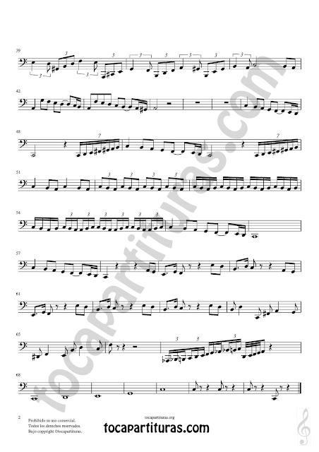 2 Partitura de Tuba y Contrabajo (Clave de Fa en 8ª Baja) Pas de Deux Sheet Music for Contrabass y Tuba Music Score Tonalidad Do Mayor Fácil / C Major Easy PDF/MIDI de Tuba / Contrabajo