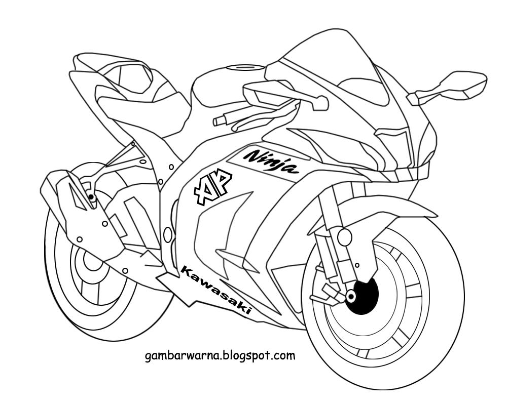 Mewarnai Gambar Motor Balap Warnai Gambar