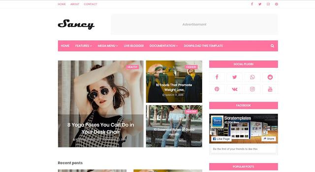 sancy blogger templates by sora blogger templates