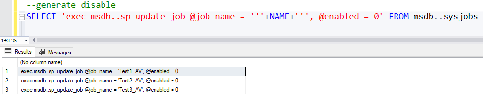 Enable or disable all jobs sql server