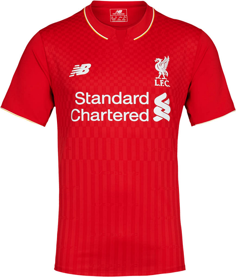 87f311d5d The white New Balance Liverpool Away shirt features a unique and modern red  collar