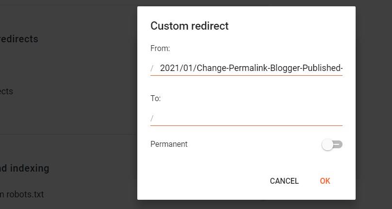 Blogger redirect