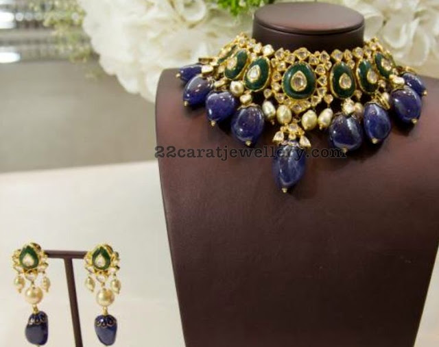 Blue Sapphire Drops Kundan Choker