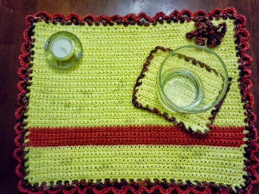 Fall Crochet Pattern ~ Sunset Placemat and Coaster Set