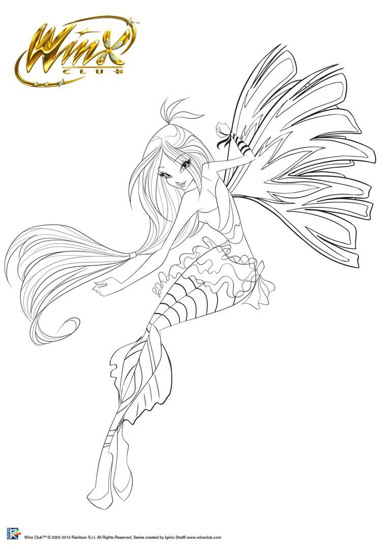Winx Boyama Bloom Sirenix üst Ev Boyama Sayfası