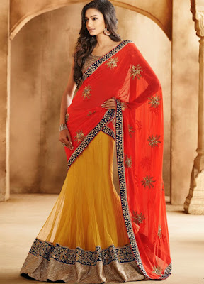 Indian bridal lehenga saree for wedding