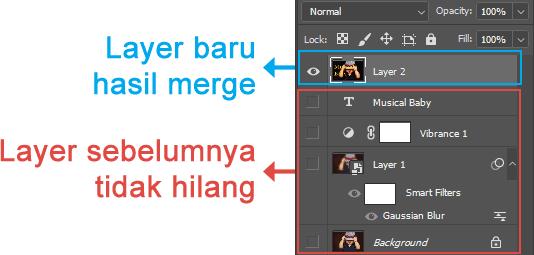 Tampilan layer hasil Merge Layer di Photoshop