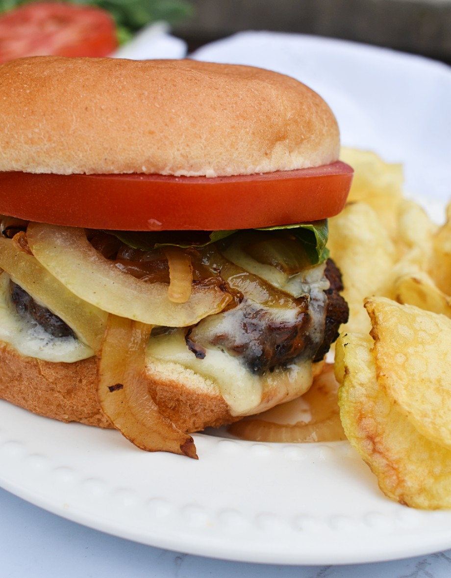 Caramelized Onion Burger with Swiss Cheese