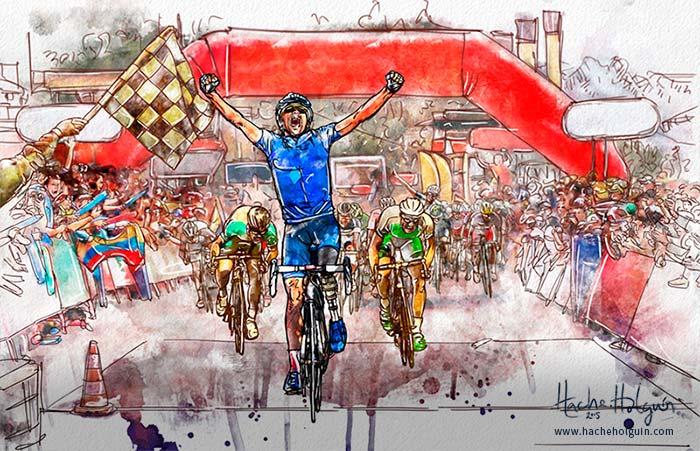 Ilustración de ciclista llegando a la meta ganando etapa