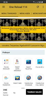 Tampilan Aplikasi One Reload 114