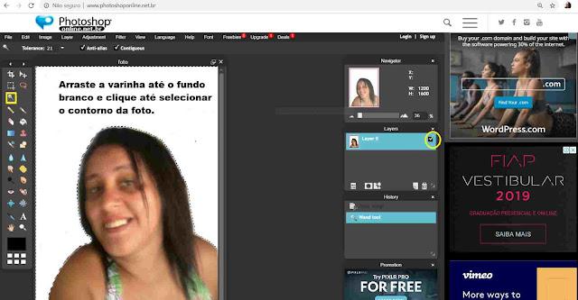 Whatsapp: Selecionando um imagem no Photoshop online.