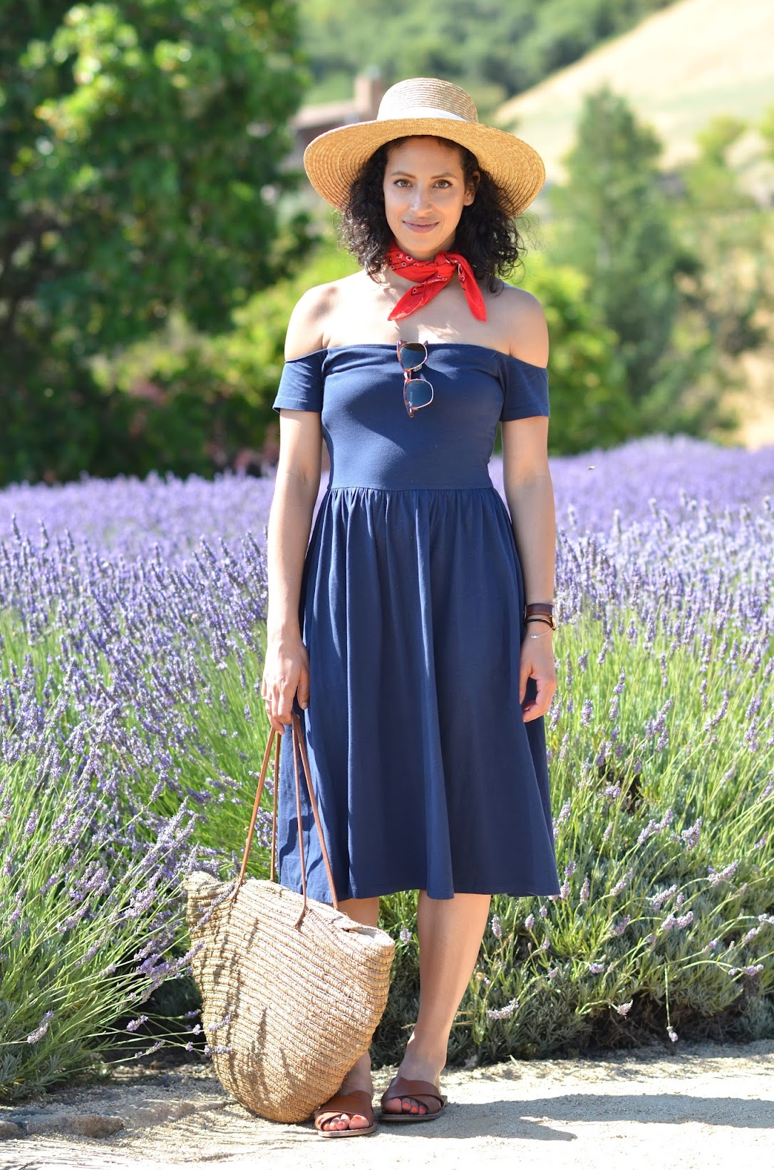 Matanzas Creek Winery, Lavender fields, Wine country, off the shoulder blue dress, Asos, straw fedora, summer style, straw summer accents