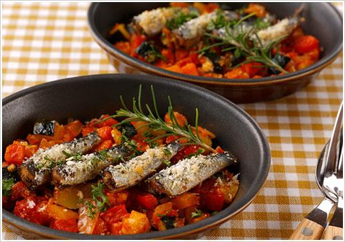 オイルサーディンと野菜のオーブン焼き