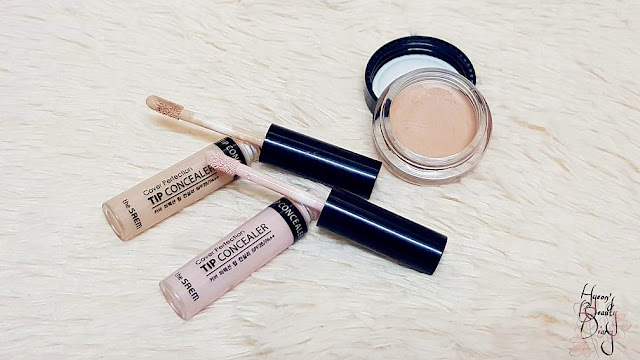 The Saem's Cover Perfection Tip Concealer (01 Clear Beige & Brightener) + Cover Perfection Pot Concealer (01 Clear Beige)