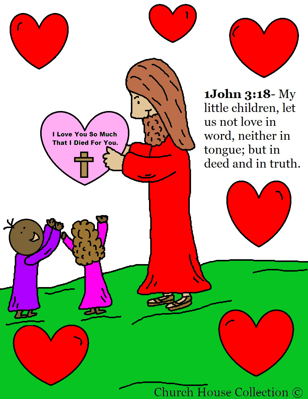 Jesus With Heart Valentines Day Coloring Page