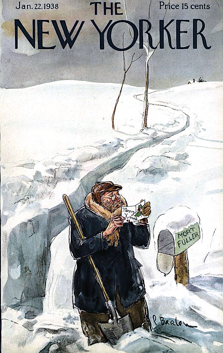 a Perry Barlow illustration for The New Yorker magazine January 22 1938, a man digs a snow path to his mailbox