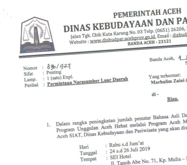 Dinas Kebudayaan dan Pariwisata Aceh Undang Kepala Suku Seni sebagai Narsum
