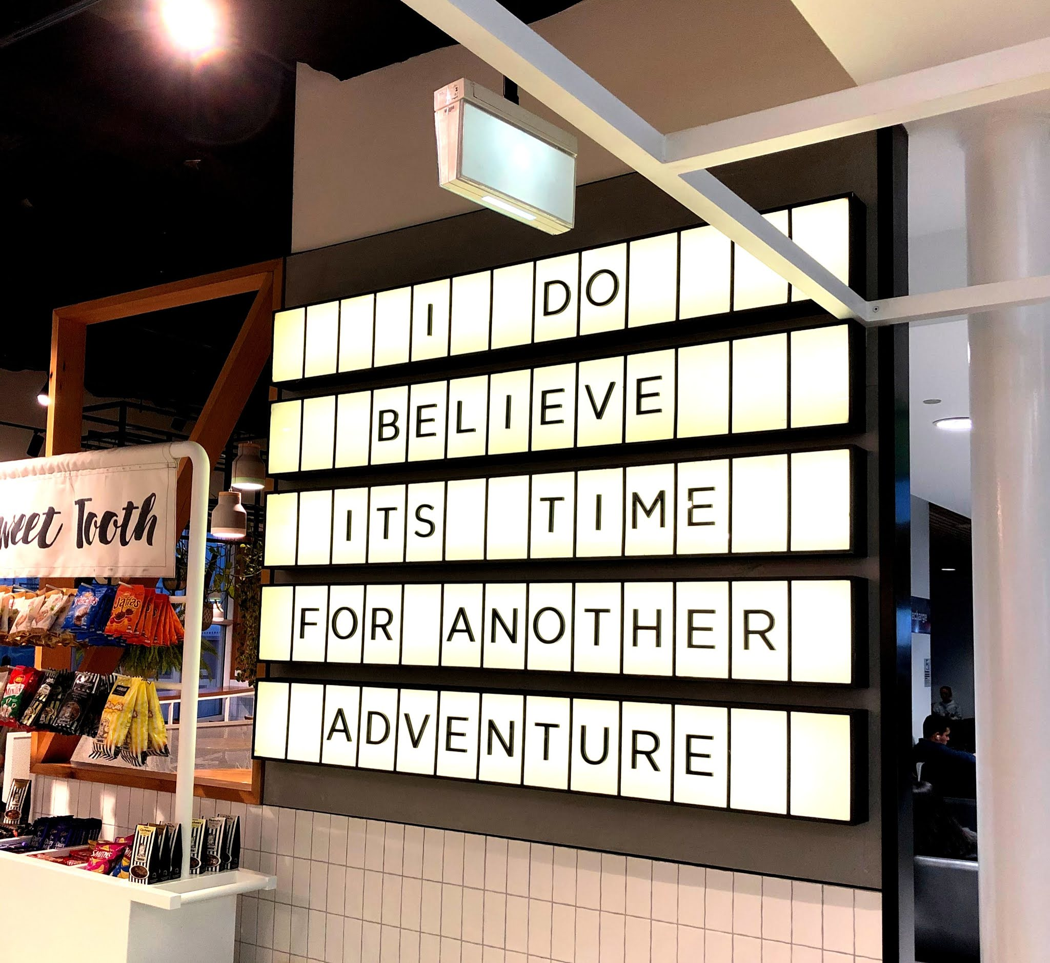 adventure time sign at sydney airport