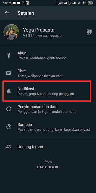 Cara Mematikan Notifikasi Whatsapp 1