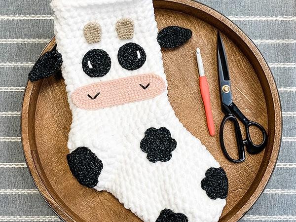 Free Crochet Cow Stocking Pattern