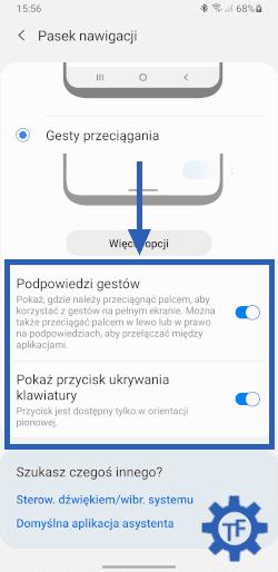 Włączanie i wyłączanie paska na dole ekranu