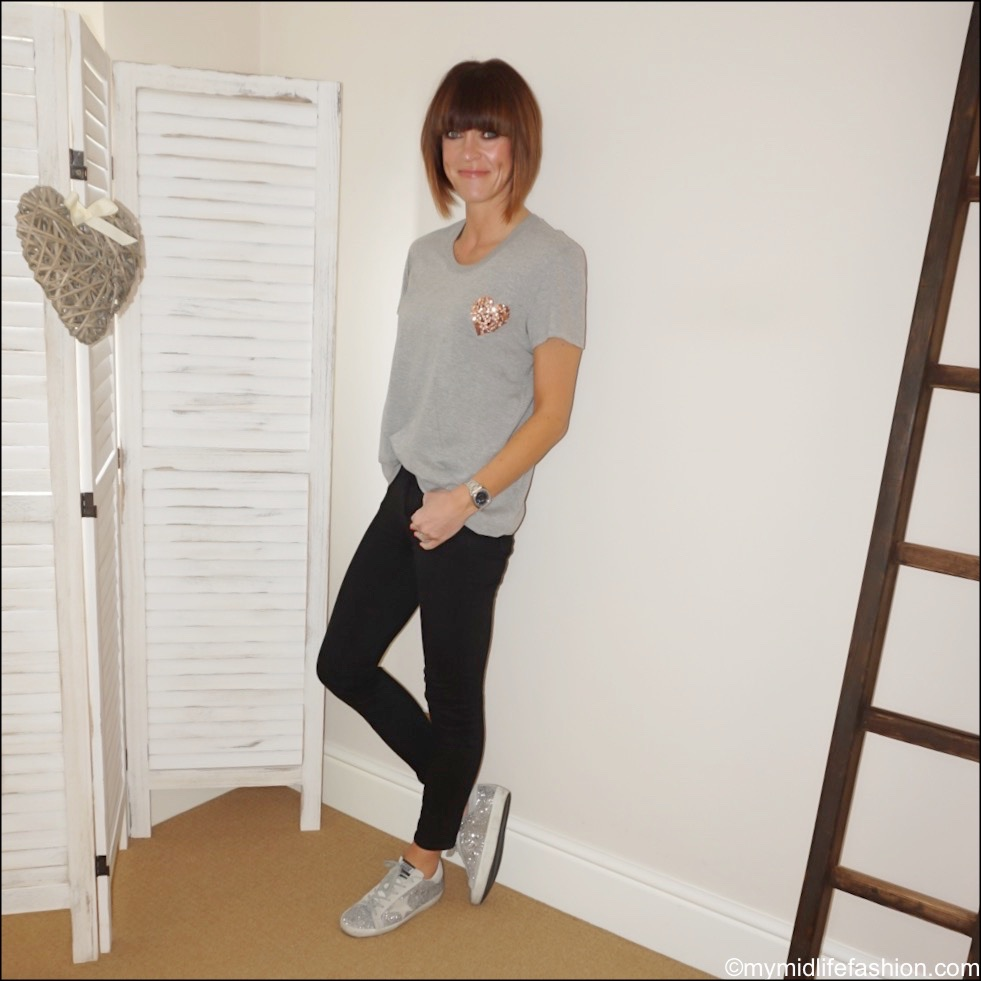 my midlife fashion, j crew 8 stretchy toothpick jeans, golden goose superstar low top leather glitter trainers, Markus lupfer grey marl crew neck t shirt