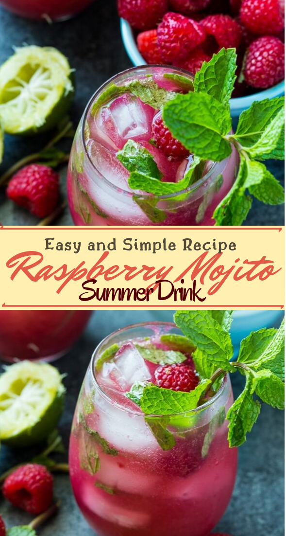 Raspberry Mojito Summer Drink  #healthydrink #easyrecipe #cocktail #smoothie #mojitorecipe