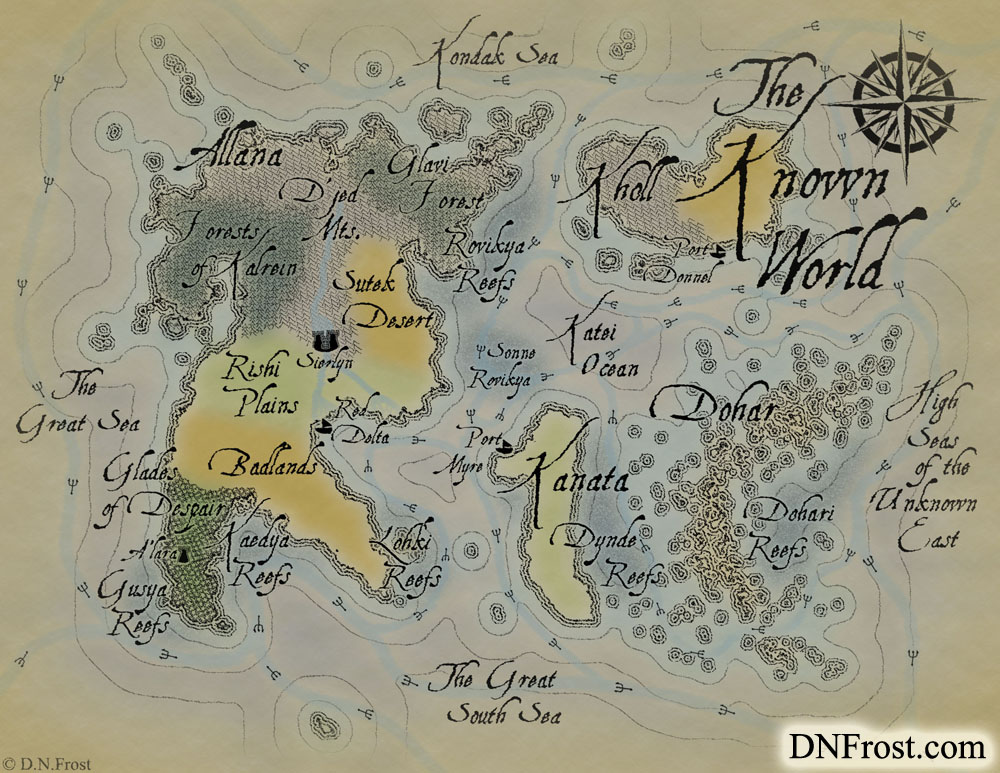The Known World: an enchanted realm of magic and prophesy www.DNFrost.com/maps #TotKW A map for Broken by D.N.Frost @DNFrost13 Part of a series.