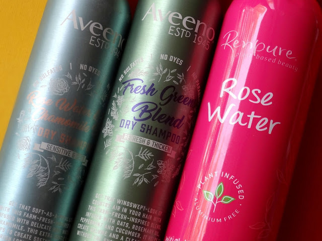 Aveeno Fresh Greens and Rose Water Chamomile and Renpure Rosewater Dry Shampoo