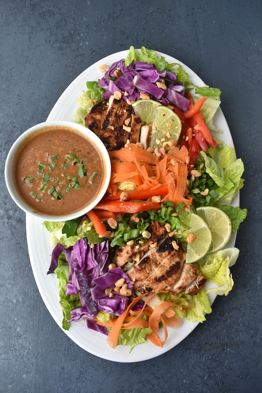 Thai Peanut Chicken Salad with peanut sauce