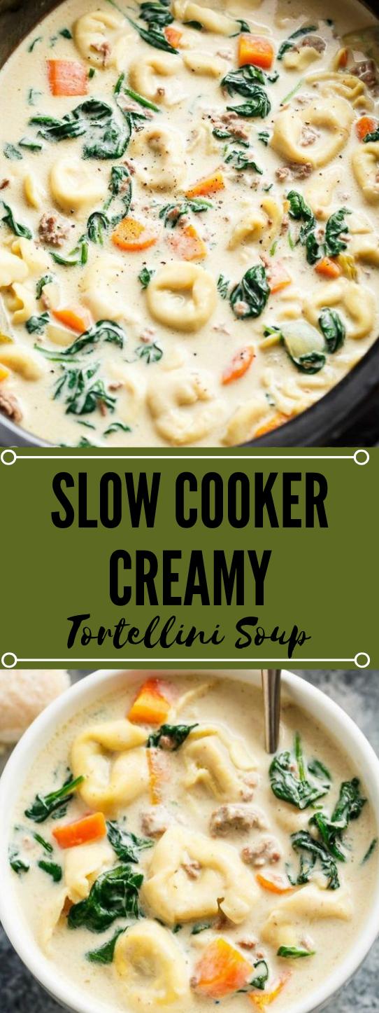 Slow Cooker Creamy Tortellini Soup #soup #vegan #vegetarian #cauliflower #mushroom