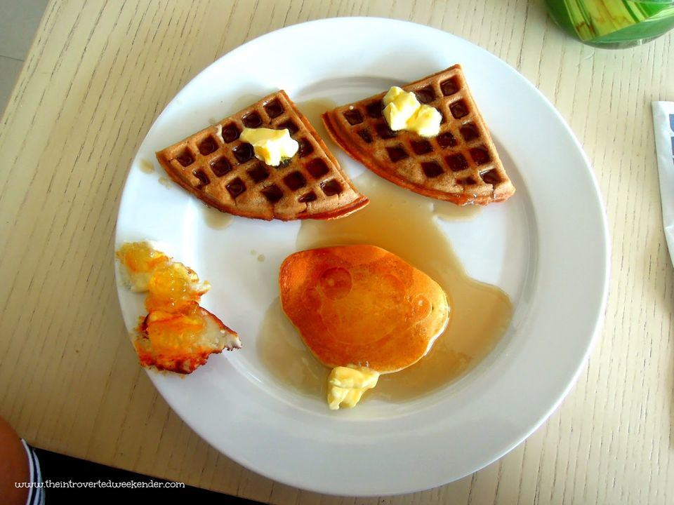 Pancakes and waffles served during breakfast buffet at The Beach House at Costa Pacifica
