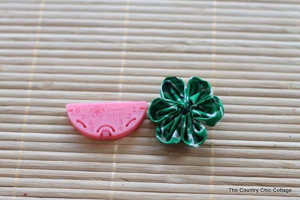 Green Kanzashi Flower Pin for Saint Patrick's Day