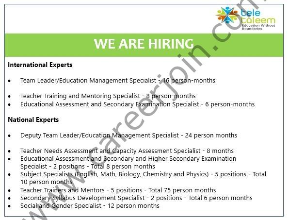Tele Taleem Pvt Ltd Jobs July 2021