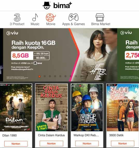 cara menggunakan kuota streaming tri moviemax plus viu