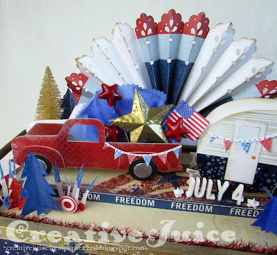 Lisa Hoel for Eileen Hull - Patriotic holiday decoration with Eileen's new Vintage Truck Die and Camper Die! #eileenhull #eileenhulldesigns #eileenhullsizzix #ehinspirationteam #eheducators #Sizzix #mymakingstory #diecutting